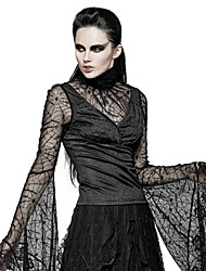 PUNK RAVE T-449 Women's Halloween Event Party Stage  Jacquard Special Design Sexy Vintage Punk Gothic Spider Web Flare Sleeve T-shirt