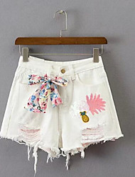 Women's High Waist Inelastic Shorts Pants,Simple Relaxed Print