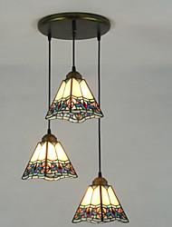 Подвесные лампы ,  Тиффани Живопись Особенность for Матовая Металл Гостиная В помещении Коридор 3 луковицы