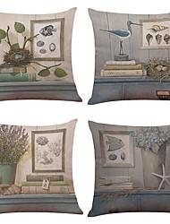 4 PC Lino Natural/Orgánico Cobertor de Cojín Funda de almohada,Sólido Con TexturasModerno/Contemporáneo Oficina/ Negocios