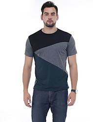Masculino Camiseta Casual Simples Verão,Estampa Colorida 100% algodão Decorado com Bijuteria Manga Curta 30D