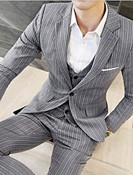 Men's Work Party Street chic Spring Fall Suit,Striped Notch Lapel Long Sleeve Regular Linen