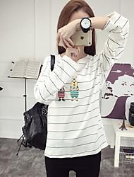 Damen Druck Einfach T-shirt,Rundhalsausschnitt ¾-Arm Baumwolle