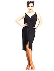 Danse latine Robes Femme Spectacle Fibre de Lait 1 Pièce Sans manche