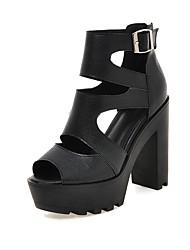 Mujer Sandalias Confort PU Verano Casual Vestido Confort Combinación Blanco Negro Plateado 10 - 12 cms