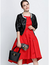 Women's Party Chic & Modern Spring Leather Jacket,Solid Round Neck 1/2 Length Sleeve Short Polyester Beaded