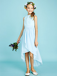LAN TING BRIDE Asymmetrical Chiffon Lace Junior Bridesmaid Dress Sheath / Column Jewel Natural with Pleats