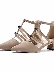 Damen Sandalen Leder PU Frühling Schwarz Mandelfarben 5 - 7 cm