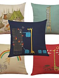 Set of 5 Creative Cartoon Giraffe Pattern  Linen Pillowcase Sofa Home Decor Cushion Cover (18*18inch)