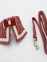 Collar Leash Foldable Adjustable Stripe Fabric