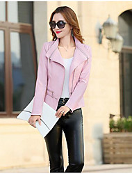 Women's Casual/Daily Simple Summer Leather Jacket,Solid Notch Lapel Long Sleeve Short PU