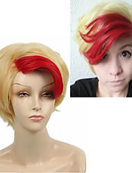 Short Straight Anime YURI!!! on ICE Minami Kenjiro Cosplay Wigs Synthetic Hair Red Highlight Light Gold for Halloween Heat Resistant