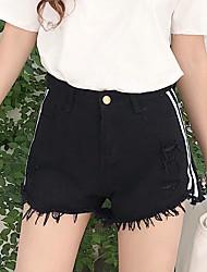 Feminino Simples Cintura Alta Micro-Elástica Chinos Calças,Perna larga Sólido Retalhos