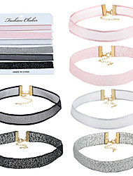 Women's Girls´ Choker Necklaces Scarf Necklaces Jewelry Round Lace Eco-friendly Material SilkCircular Unique Design Flower Style Ribbons