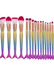 16Pcs Fishtail Shape Makeup Brushes High Quality Set Blending Powder Contour Concealer Blush Eyeshadow Eyebrow Face Eye Comestic Make Up Tool