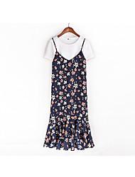 Women's Sports A Line Dress,Floral Print Round Neck Knee-length Long Sleeve Cotton Summer Mid Rise Micro-elastic Medium