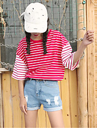 Damen Gestreift Einfach T-shirt,Rundhalsausschnitt Sommer ½ Länge Ärmel Baumwolle Undurchsichtig