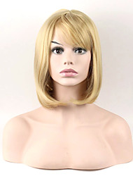 Mujer Pelucas sintéticas Sin Tapa Medio Liso Rubio Peluca natural Las pelucas del traje