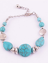 Women's Strand Bracelet Turquoise Friendship Fashion Bohemian Punk Luxury Turquoise Alloy Round Geometric Drop Jewelry ForWedding Party