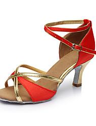 Maßfertigung Damen Latin Satin Sandalen Innen Maßgefertigter Absatz Rot