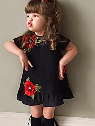 Girl's Baby Fashion Floral DressCotton Summer Short Sleeve Kids Clothes Lotus leaf side Dresses