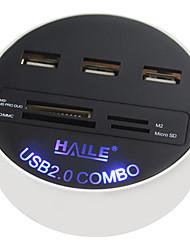 Haile hu-03 bianco rotondo 3 porte usb2.0 hub con funzione di lettore di schede 80cm cavo