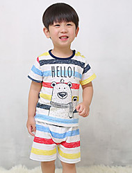 Young children's Fashion And Lovely Cartoon Design Round Collar T-Shirt Pants comfortable Two-Piece Dress