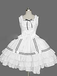 Uma-Peça/Vestidos Gótica Lolita Cosplay Vestidos Lolita Rosa Preto Branco Vintage Concha Manga Curta Short / Mini Vestido Para