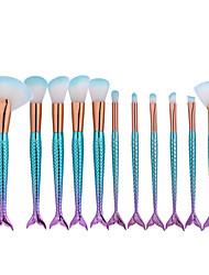 11pcs sereia peixe em forma de maquiagem grande ventilador escova set fundação em pó escova cosmética