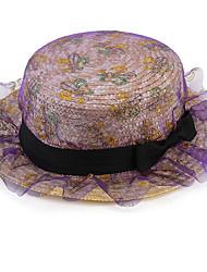 Silk Gauze Bowknot Straw Hat Sunscreen Summer Flat-topped Hat Cap
