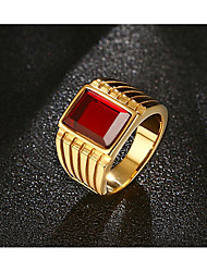 Men's   Vintage Punk  Classic Ruby Titanium Steel Square Ring Jewelry For Wedding Party/Evening Daily Stage