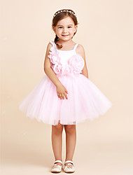 Ball Gown Knee-length Flower Girl Dress - Cotton Chiffon Organza Satin Tulle Straps with Bow(s) Flower(s)