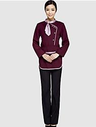 Feminino Camisa Calça Conjuntos Escritório/Carreira Mais Uniformes Primavera/Outono/Inverno/Verão,Sólido Listrado Decote RedondoManga
