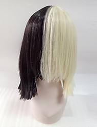 Mujer Pelucas sintéticas Sin Tapa Medio Liso Negro/Blanco Raya en medio Corte Bob Con flequillo Peluca de cosplay Las pelucas del traje