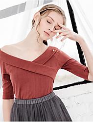 Damen Solide Einfach Normal T-shirt,V-Ausschnitt Kurzarm Baumwolle