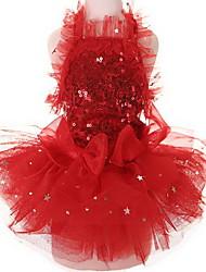 Chien Robe Smoking Vêtements pour Chien Mignon Mariage Paillettes Rouge Rose