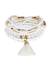 Lureme Bohemian Beads Pearl Tassel Multi Strand Textured Stackable Bracelet Set