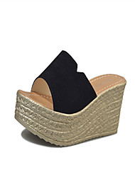 Women's Sandals Club Shoes PU Spring Summer Casual Dress Club Shoes Split Joint Wedge Heel Black Yellow Ruby 3in-3 3/4in