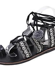Women's Sandals Gladiator PU Summer Casual Lace-up Flat Heel Light Brown Black White Flat