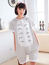Girls Summer Kigurumi Pajamas Anime Cat Leotard/Onesie Festival/Holiday Animal Sleepwear Halloween Gray Animal Print Cotton Cosplay Costumes Kigurumi