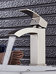 Contemporary Creative Fashion Style Brass Nickel Brushed Bathroom Sink Faucet