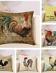 6 PC Algodón/Lino Cobertor de Cojín Funda de almohada,Animales Novedad Moda Vintage Casual Retro Tradicional/Clásico Neoclasicismo Europeo