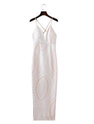 Для женщин На выход На каждый день Простое Уличный стиль Свободный силуэт Прямое Платье Однотонный Кружева Печать,На бретелях МаксиБез
