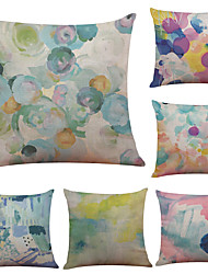 Set of 6 Color Graffiti Pattern Linen Pillowcase Sofa Home Decor Cushion Cover  Throw Pillow Case (18*18inch)