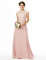 2017 LAN TING BRIDE Floor-length Bateau Bridesmaid Dress - Elegant Short Sleeve Chiffon Lace