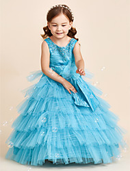 Ball Gown Floor Length Flower Girl Dress - Polyester Jewel with Applique Beading Bow(s) Flower(s) Sash / Ribbon Tiered