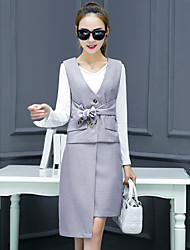 Women's Business Formal Vintage Sophisticated Spring Fall T-shirt Skirt Suits,Striped V Neck Long Sleeve Micro-elastic