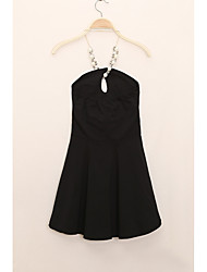 Women's Party Club Sexy A Line Dress,Solid Asymmetrical Above Knee Sleeveless Cotton Summer Low Rise Micro-elastic Medium