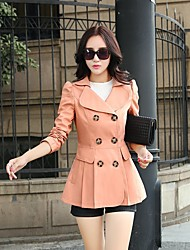 Women's Casual/Daily Cute Spring Fall Coat,Solid Square Neck Long Sleeve Long Cotton