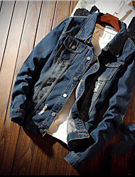 Men's Daily Modern/Comtemporary Spring Fall Denim Jacket,Solid Stand Long Sleeve Regular Cotton Others